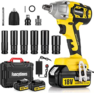 Cordless Impact Wrench, 18V 320N.m Electric High Torque Wrench, 2 Pcs 5.0AH Battery, 1/2 inch Drive, Dual Speed Auto Power...