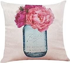 Wenini Spring Decorative Handmade Cotton Throw Pillow Covers, Hello Spring Throw Pillowcase Home Decor Cushion Cover for Sofa Bedroom Car 18 x 18 Inch 45 x 45 cm (C)