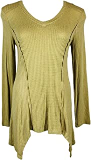 Knox Rose Women's Pieced Waffle Knit Fitted Pullover with Sharkbite Hem
