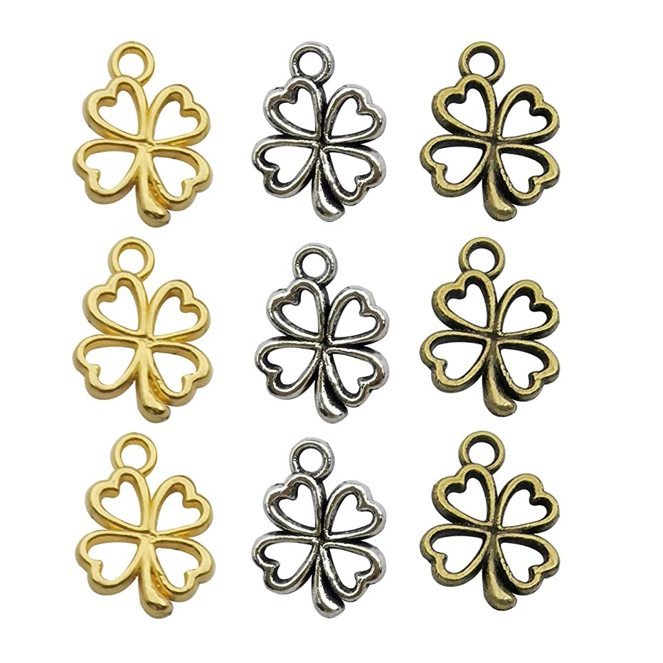 120pcs Craft Supplies Mixed Gold Plated Antique Silver Bronze Four Leaf Clover Charms Pendants for Crafting, Jewelry Making Accessory for DIY Necklace Bracelet M253