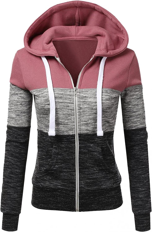Sweatshirts for Women,Women Hoodies with Zipper Plus Size Aesthetic Lightweight with Pockets Patchwork Sweatshirt