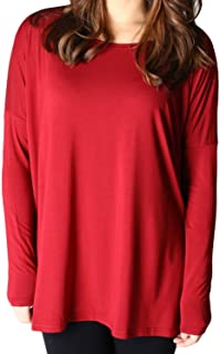 David Collection Style Long Sleeve Bamboo Casual Oversized of Shoulder Boat Neck T Shirt