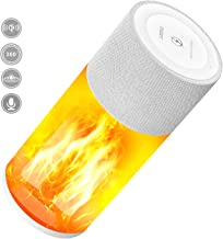 Multifunction Bluetooth Speaker with LED Flame Light, Portable Speaker Wireless with 6 Themes Flickering Night Light, Dual HD Stereo Speaker, BT 4.2, Ipx6 Waterproof, Wireless Charger, Handsfree Call