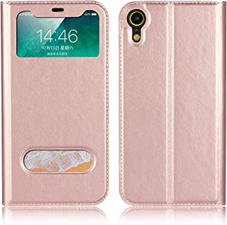 Jaorty for Apple iPhone XR case, PU Leather Flip Case with View Window Stand Kicstand Smart Sleep/Wakeup Magnetic Closure Soft TPU Bumper Slim Leather Case for iPhone XR,Rose Gold