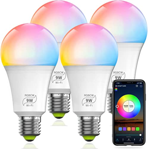 HaoDeng WiFi LED Smart Bulb - Dimmable, Multicolor, Tunable White (Color Changing Disco Ball Lamp) - 9W A19 E27(80W E...