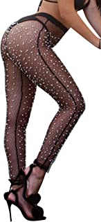 doublebabyjoy Women's Sexy See Through Fishnet Pantyhose Solid Color Footless Leggings Pants Stretchy Tights Stockings