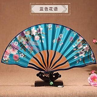 QIANWEIXI Abanico Plegable De Mano,Cielo Azul Planta Flor De Cerezo Hueso Curvo Abanico Vintage Baile Fiesta De Boda Seda Ventiladores Plegables Flor De Mano Ventiladores Decorativos