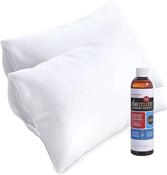 Demite 枕头保护器 2 包 W 洗衣添加剂过敏控制防水枕套床虫尘螨保护消除床上用品的过敏原服装标准箱 8 盎司