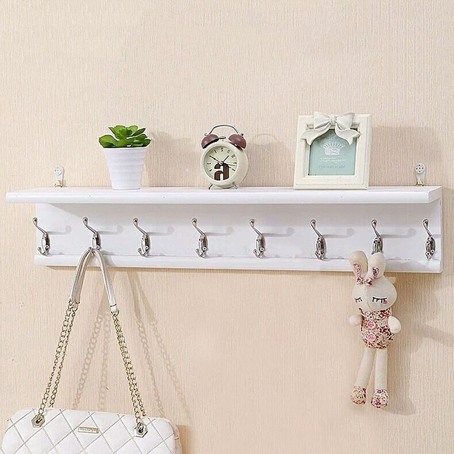 LIANGLIANG Floating Wall Shelves Shelf Coat Rack Hanger The Top Can Hold Two Layer Hooks Solid Wood 3 colors 3 Kinds of Sizes (color   White, Size   80  15  15cm)