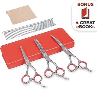 Premium Dog Grooming Scissors (Red)