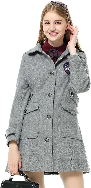 Etongenius Women Girls Grey Lapel Single Breasted Slim Winter Wool Coat Parka Outwear Trench Jacket with Pockets