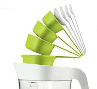 ZEAL 9 piece Nest and Store Measuring Cups and Spoons Set - BPA Free Tritan Plastic - Green