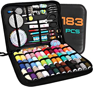 Sewing Kits for Adults, Kids, Beginners, Travel, Akaru DIY Sewing Kit Supplies Including 183 Sewing Accessories, 38 XL Threads, Needles with Premium Leather Case