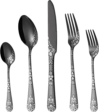 PHILIPALA 20-piece Silverware, Stainless Steel Flatware Set for 4 people, Black Cutlery Set, Knives and Forks and Spoons Sets