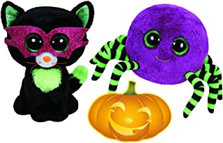 Ty Beanie Boos Halloween Crawly Spider and Jinxsy Cat Set of 2 Scary Friends with Bonus Pumpkin Sticker