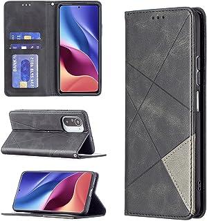 ESONG Hoesje voor Xiaomi Poco F3,Magnetic PU Leather Wallet Case leren hoes met kaartenvak met standaard functie Cover-zwart