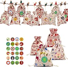 Kerstmis Adventskalender Linnen zakjes 24 dagen jute Opknoping Garland Koord Giften Filler doe-het-Craft Kerstmis zcaqtajr...