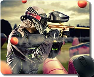 Gaming Mouse Pad Custom,Gun Paintball Time Lapse Photography Mouse Pad with Stitched Edge