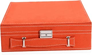 Orange Velvety Briefcase Style 2-Tier Jewelry Organizer Box Storage with Anti-Tarnish and Scratch Protection Interior Approx 60 Rings