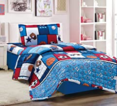 Kids 3Pcs Compressed Comforter Set, Single Size, Balls 2, Blue