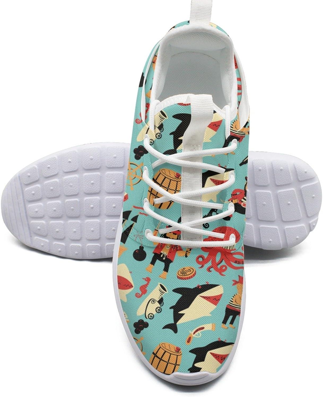 ERSER Octopus Shark Pirate Ship Nautical Green Road Running shoes Women