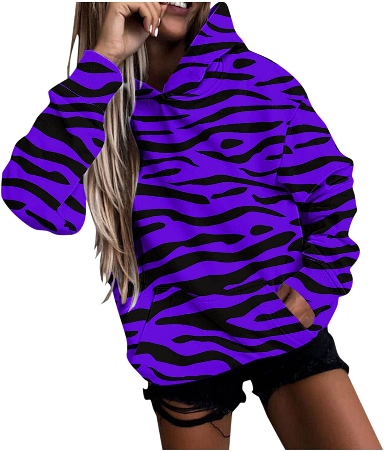 Women Casual Stripe Long Sleeve Camouflage Printed Hooded Sweatshirt Tops Loose Warm Blouse with Pockets