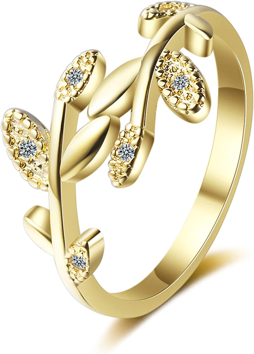 COLORFUL BLING Leaf Crystal Cubic Zirconia Open Finger Joint Stackable Adjustable Ring for Women Girl Jewelry Gifts Statement Dainty Simple Gold Wind Plants