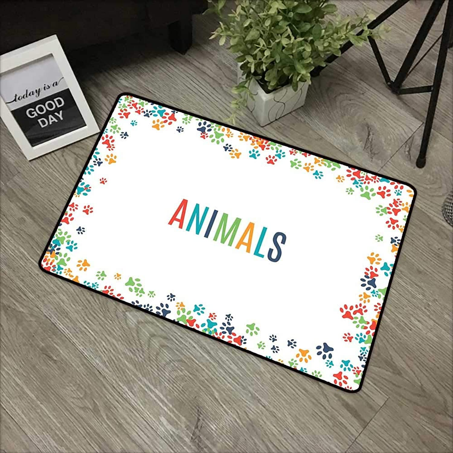Pool Anti-Slip Door mat W35 x L59 INCH Kids Party,Animal Footprint Ornament Border Cute Paw Trace Cats and Dogs Friendly Pets,Multicolor with Non-Slip Backing Door Mat Carpet