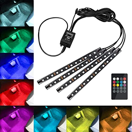 Fugen 4 Pcs USB Car Interior 5050 SMD LED Strip Light with 16 Signal Color Control and Wireless IR Control RGB Color Atmosphere Decorative SMD Neon Lamp Perfect for car Home Christmas Decoration