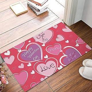 FAMILYDECOR Non Slip Doormat Entrance Mat Indoor/Outdoor/Front Door/Bathroom Valentine's Day Theme Heart-Shaped Pattern Pr...