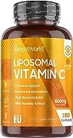 Vitamine C Liposomale 1000 mg - 180 Gélules (3 mois) - Vegan Ingrédients d'Origine Naturelle - Avec Extraits d'Églantier...