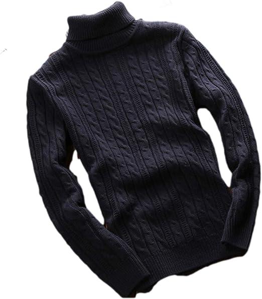 Suéter de Cuello Alto para Hombre, Jersey de Jacquard a Rayas ...