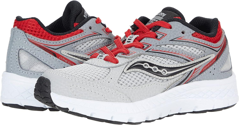 Saucony Cohesion 14 LTT Sneaker, Grey/Red, 10.5 Wide US Unisex Big_Kid