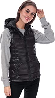 Brave Soul Womens Everett Padded Hooded Gilet in Black.