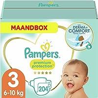 Pampers Maat 3 Premium Protection Luiers, 204 Stuks, MAANDBOX, onze Nummer 1 Luier voor Zachtheid en Bescherming van de...