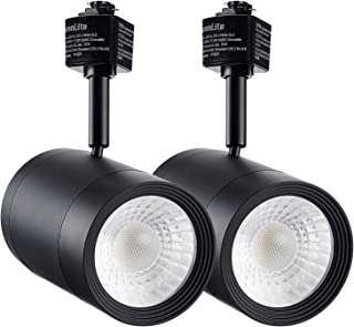 LEONLITE 2-Pack 17.5W (85W Eqv.) Integrated CRI90+ LED Black Track Light Head, Dimmable 38° Spotlight Track Light, 1200lm Energy Star & ETL Listed for Wall Art Exhibition Lighting, 3000K Warm White