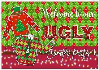 Allenjoy 2,1 x 1,5 m hässlicher Pullover Hintergrund für klebrige Winterurlaub, Festival, Partyzubehör, Weihnachtsdekoration, Familienfeiern, Abschlussball, Fotoshooting Requisiten, Hintergrund Banner