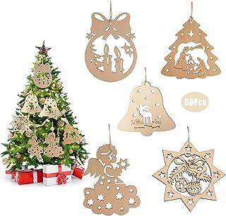 50Pcs Adornos Colgantes de Madera Navidad Adornos,Arbol Navidad Madera con Cordele,5 Estilos Colgantes de Madera para Árbo...
