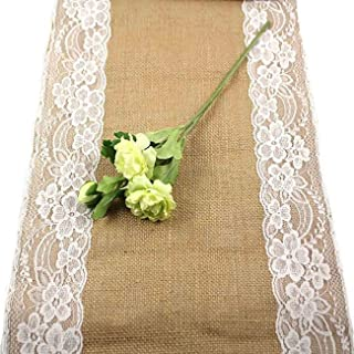 Uheng 12X108 Set of 5 Burlap Lace Hessian Table Runner Roll with White Lace Rustic Natural Jute Country Wedding Party Dining Table Decoration Farmhouse Events Decor