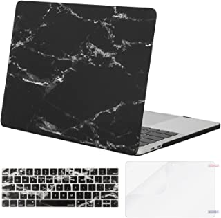 MOSISO MacBook Pro 13 inch Case 2019 2018 2017 2016 Release A2159 A1989 A1706 A1708, Plastic Pattern Hard Shell & Keyboard Cover & Screen Protector Compatible with MacBook Pro 13, Black Marble