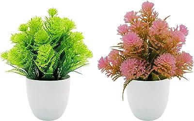 Uymaty 2 Plantas de plástico de imitación con macetas de plástico,Mini Plantas de césped de arbusto de plástico Falsas para decoración del hogar,Adornos de Escritorio de Oficina(Verde,Rosa,21cm)