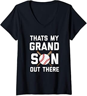 Womens Baseball Quote Thats my Grandson out there Grandma Grandpa V-Neck T-Shirt