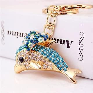 Cute Bowtie Dolphin Keychain Crystal Sparkling Keyring Rhinestones Purse Pendant Handbag Charm (Blue)