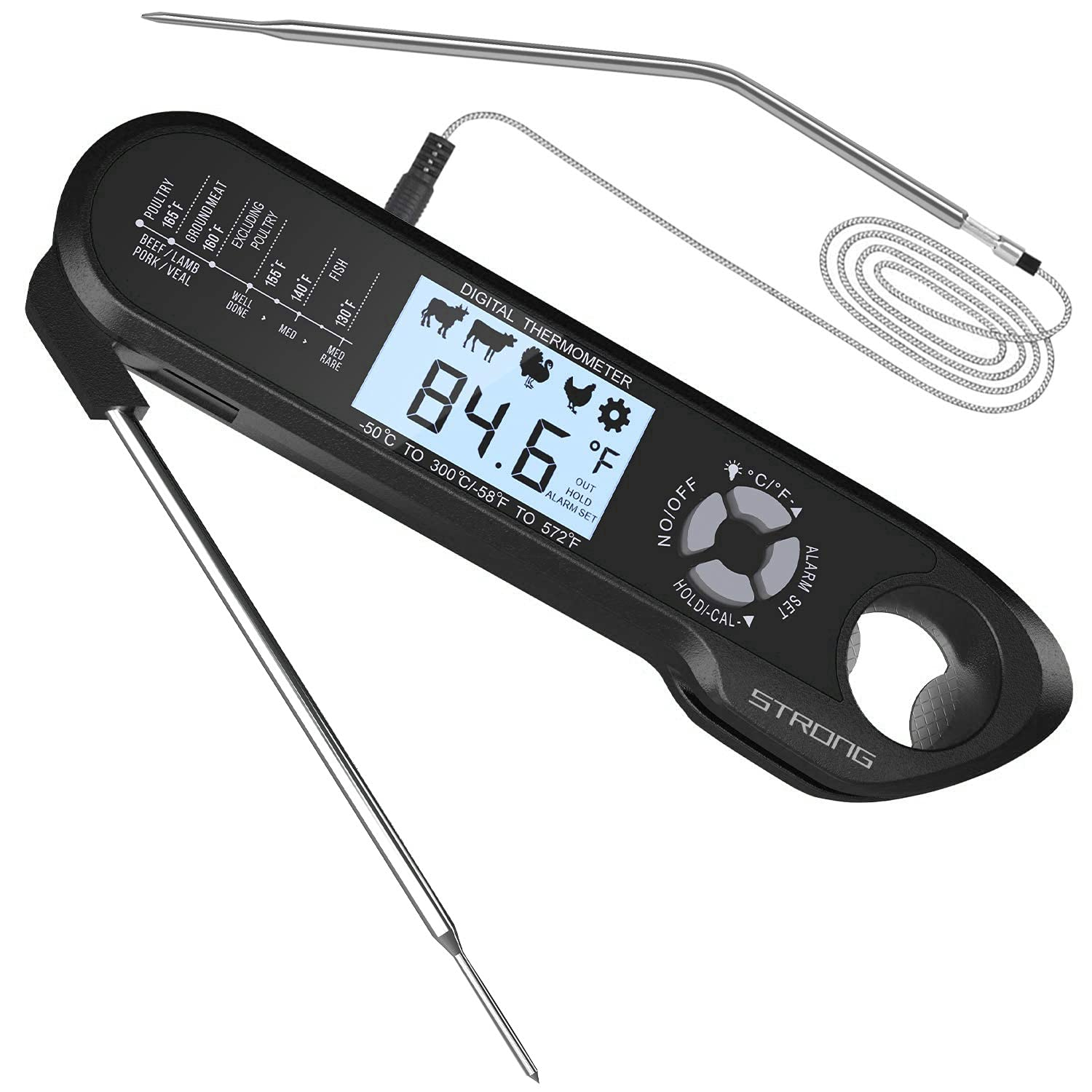 Meat Thermometer with Foldable Probe and Oven-Safe Wired Probe,Backlight,and Magnetic Sticker 2-in-1 Digital Instant-Reading Food Thermometer Suitable for Grilling, Cooking,Frying and Roasting Turkey