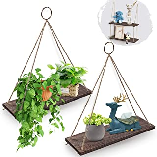 Best AGSIVO Hanging Shelves Wall Mounted Wood Shelves with 2 Rings Lightweight and Durable Farmhouse Rope Shelves for Living Room Bedroom Bathroom Kitchen Review