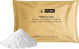 100% Pure HMB Powder, 8oz, 1000mg Serving (Approx. 1/2 TSP), Free of Gluten & Fillers, Enhance Muscle Strength, Made in US...