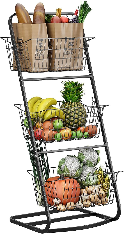 Amazon Com 3 Tier Market Basket Stand Howdia Fruit Baskets With Removable Baskets Kitchen Organizer Fruit Vegetable Produce Metal Hanging Storage Bin For Pantry Bathroom Kitchen 3 Tier Basket