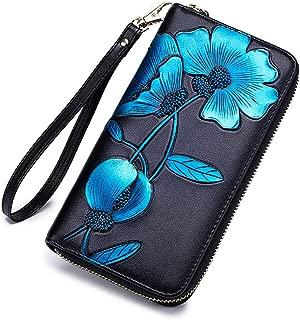 Women RFID Leather Wallet Hand Painted Flowers Ladies Wristlet Wrist strap Long Purse-Peony/Bauhinia