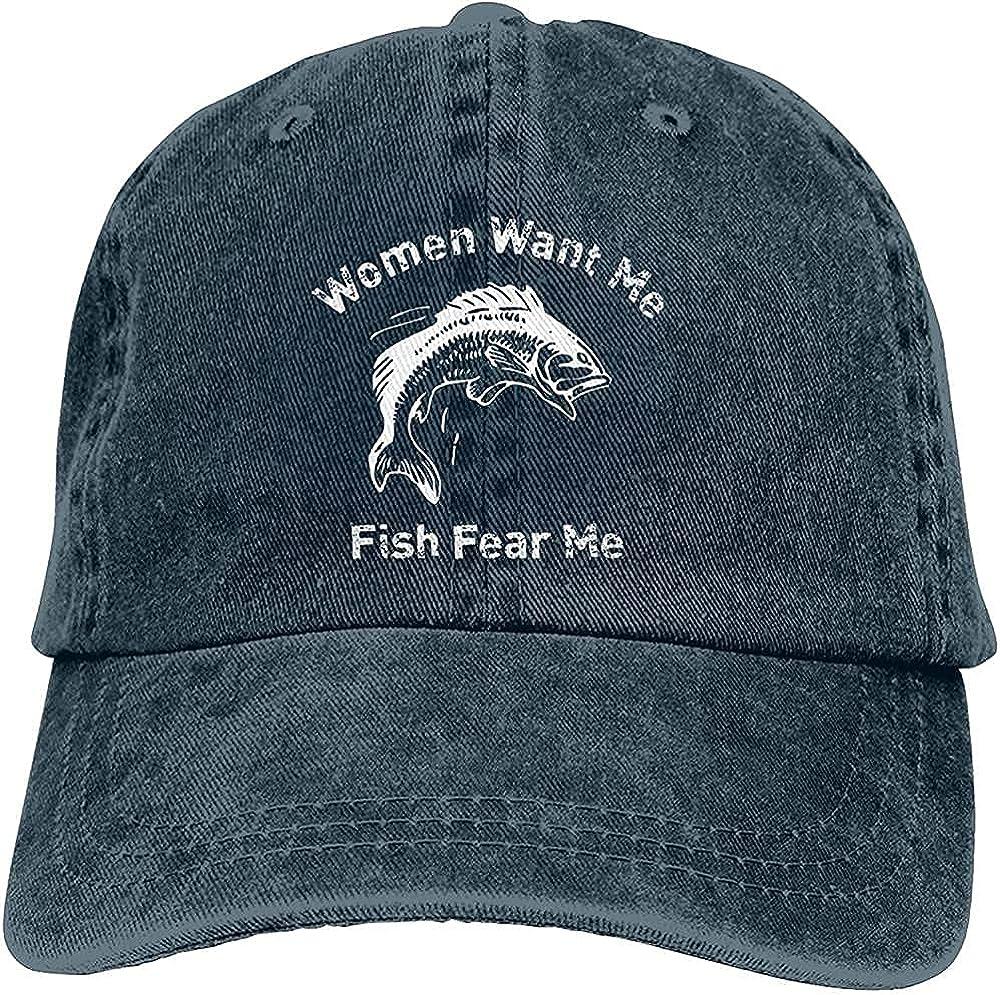 BGWORZD Fashion Women Want Me Fish Hat Unisex Baseball Cap Adjustable Comfortable Cowboy Hat Black
