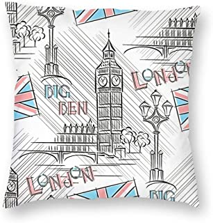 SARA NELL Velvet Square Pillow Cushion Cover,UK London Big Ben Cushion Covers Home Decorative Throw Pillowcases 18x18inch